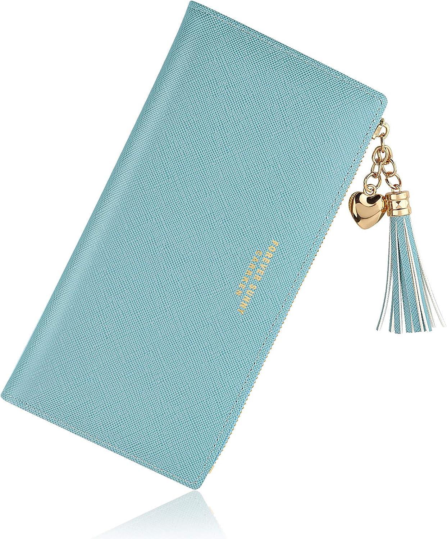 Azul Gris Monederos Mujer Cartera de Mujer de Gran Capacidad de Cuero de Mujer, Larga Billetera de Mujer con Bolsillo de Cremallera y Correas de Muñeca