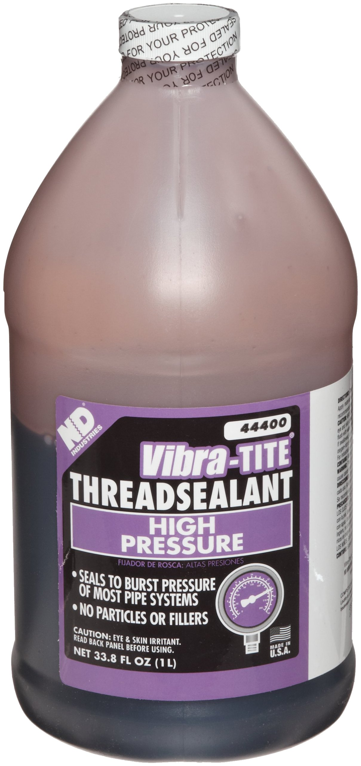 Vibra-TITE 444 Brown High Pressure Hydraulic Anaerobic Thread Sealant, 1 liter Jug