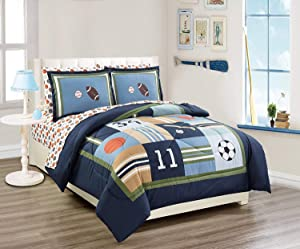 Elegant Home Multicolor Sports Basketball Baseball Soccer Football Design 7 Piece Queen Size Comforter Bedding Set for Boys/Kids Bed in a Bag with Sheet Set # Sports Navy (Queen Size)