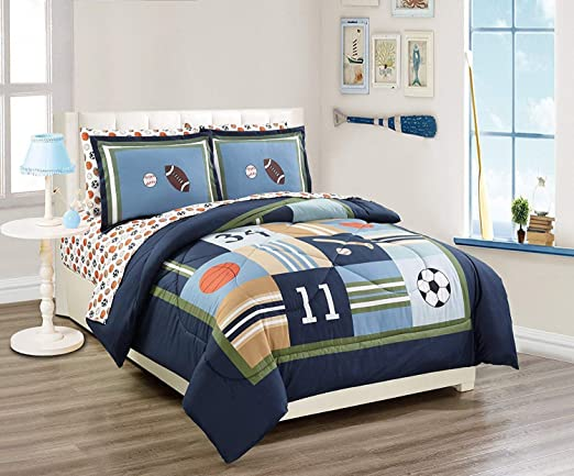 Twin Size Elegant Home Blue Green Soccer Design 6 Piece Comforter Bedding Set for Boys//Kids Bed in a Bag with Sheet Set /& Decorative Toy Pillow # Soccer
