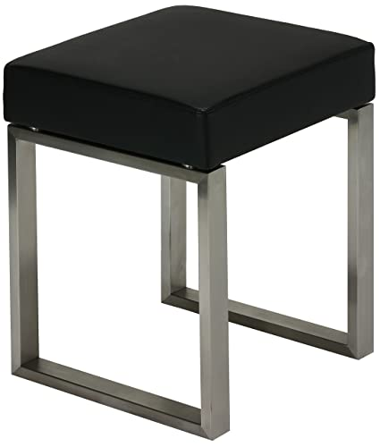 Cortesi Home Tilio Stainless Steel Stool In Black Leather Like Vinyl And  Brushed Nickel