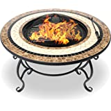 Centurion Supports Fireology TOPANGA High-End Luxurious Multi-Functional Garden & Patio Heater Fire Pit Brazier, Coffee Table, Barbecue and Ice Bucket with Ceramic Tiles