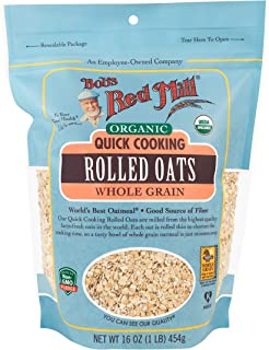 product image for Bob's Red Mill Organic Quick Cooking Rolled Oats, 16 Ounce (Pack of 4)