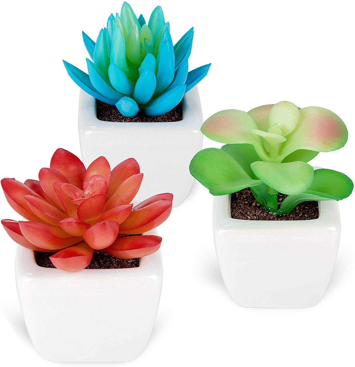 Fake Plants - Set of 3 Succulents Plants Artificial in Small White Mini Ceramic Planters - Potted Decor Plants for Home, Office, Bathroom, Bedroom, Desk, Bookshelf