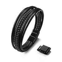 Premium Echtlederarmband für Männer in schwarz & braun | Magnetverschluss aus Edelstahl | Exklusive Schmuckschachtel | SERASAR | Tolle Geschenkidee