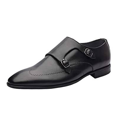 Allonsi Melvin Luxury Genuine Leather Melvin Double Buck Wingtip Monk Strap Dress Shoes for Men with Low-Heels and TPR Sole | Oxfords