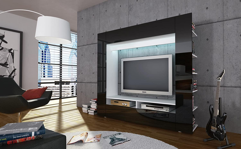 Moderne design tv medienwand epic schwarz hochglanz 185cm ...