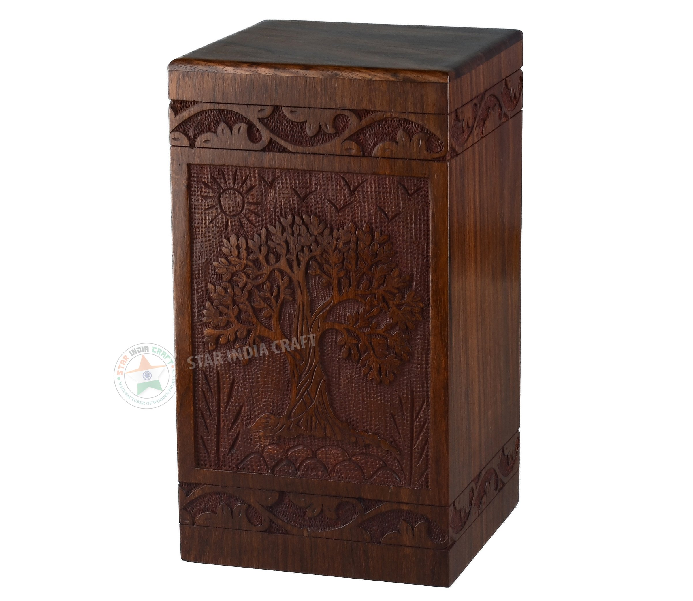 Tree of Life Urns for Human Ashes Adult by STAR INDIA CRAFT - Rosewood Cremation Urns for ashes,Antique Adult Keepsake Urn Wooden Box(11.25 x 6.25 x 6.25'') | 250 Cu/In (Simple Rosewood Round)