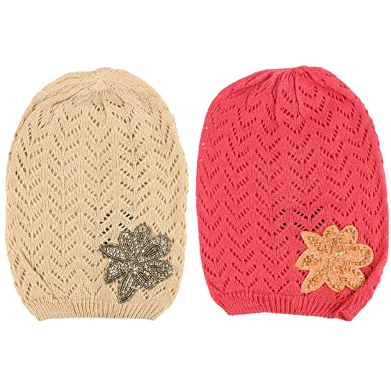 Pretty Floral Applique Soft Thin Knit Long Beanie Slouchy Skull Hat