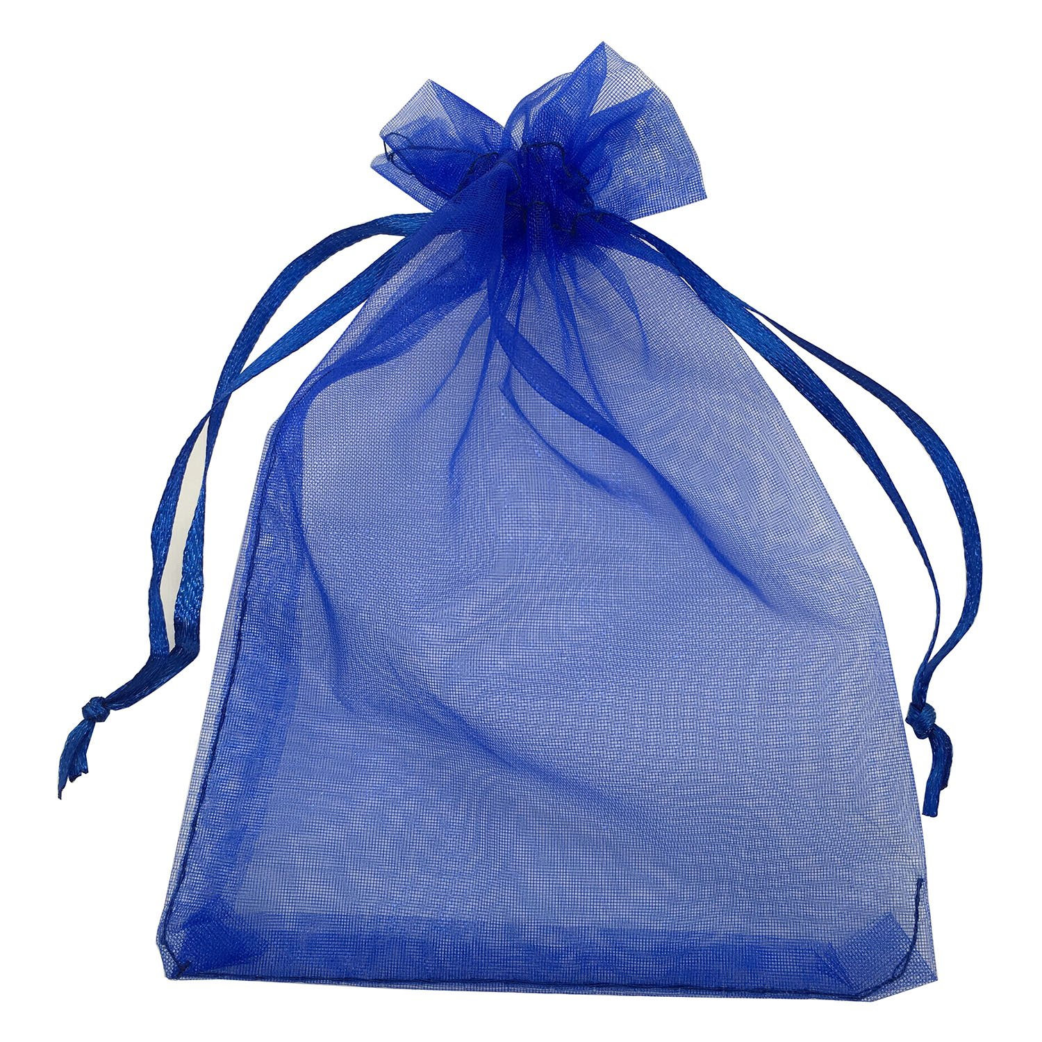 MELUOGE 100pcs 5X7 Inches Organza Drawstring Jewelry Pouches Bags Party Wedding Favor Gift Bags Candy Bags (Royal Blue) by MELUOGE
