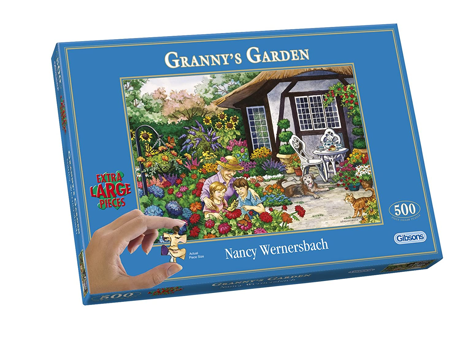 Gibsons Granny's Garden Jigsaw Puzzle (500 Extra Large Pieces): Amazon.co.uk: Toys & Games