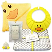 Gentle Care – Baby Shower Bath Gift Set - Soft 100% Cotton Hooded Bath Towel + Natural, Hypo-allergenic Konjac Sponge + Adjustable Foam Shampoo Cap + Beautifully Packaged