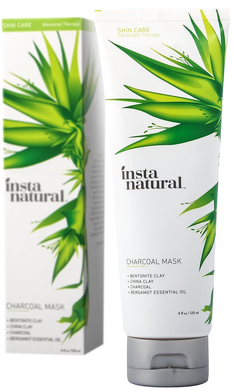 InstaNatural Masque au Charbon pour le Visage - Formule Anti Éruptions, Élimine les Points Noirs, Débouche les Pores et Purifie la Peau - Avec Poudre de Charbon et Argile de Chine - 120 ml
