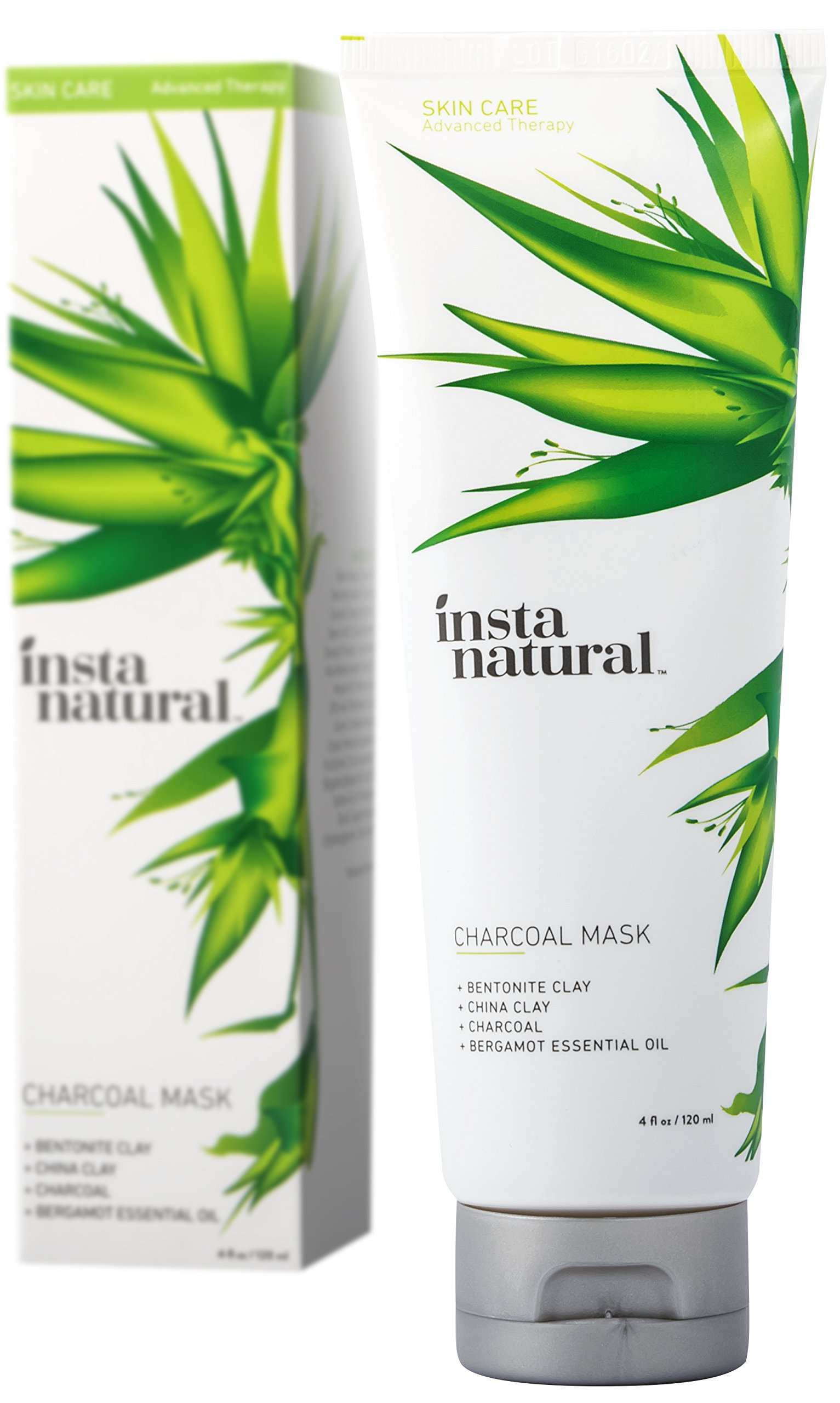 Charcoal Mask for Face - Breakout Eliminating Formula to Rid Blackheads, Unclog Facial Pores & Clear Skin - Contains Charcoal Powder & China Clay - InstaNatural - 4 OZ