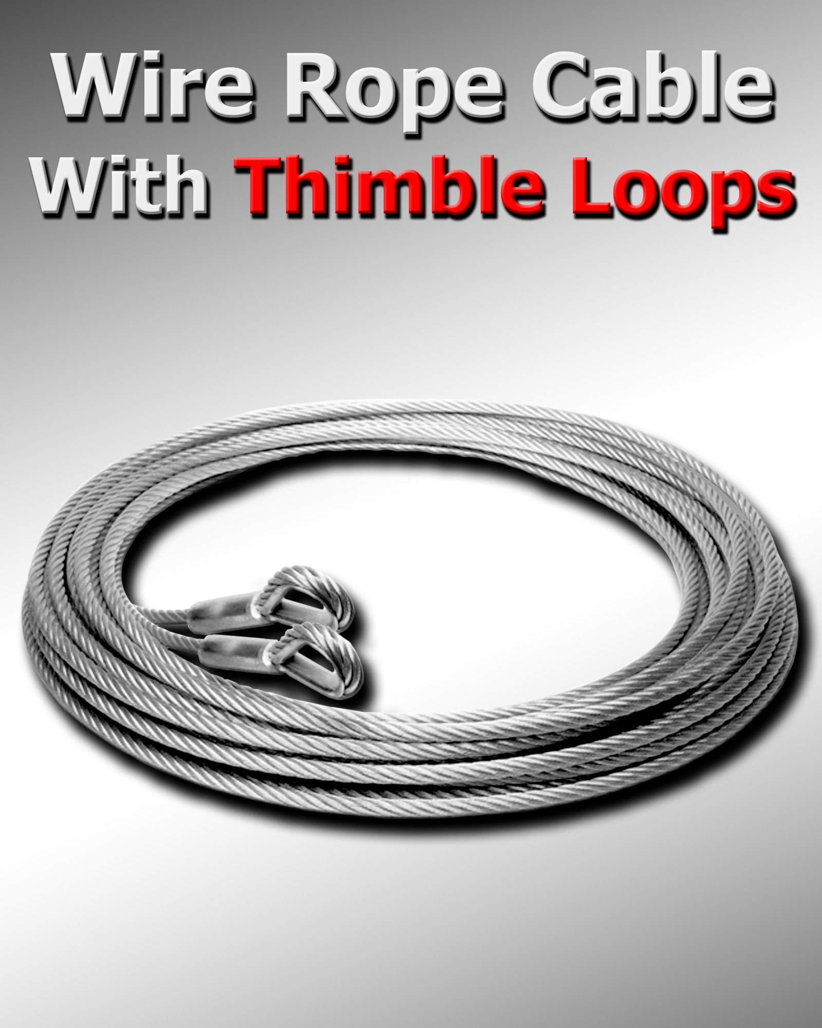 100 ft 5/16'' Galvanized Wire Rope Cable with Thimble Loops On Both Ends Choose Size/Quantity in Listing Super-Deals-Shop