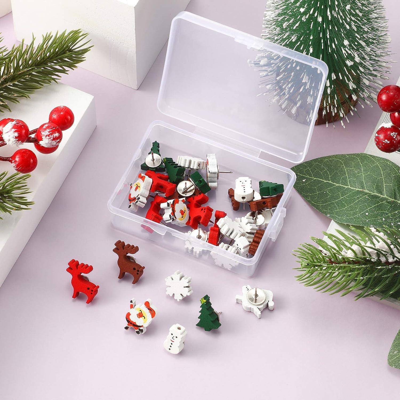60 Piezas Chincheta de Madera de Navidad Tachuela de Navidad Chincheta de Mu/ñeco de Nieve Copo de Nieve Alce /Árbol de Navidad Pap/á Noel para Navidad Pared Fotos de Fiesta Mapa