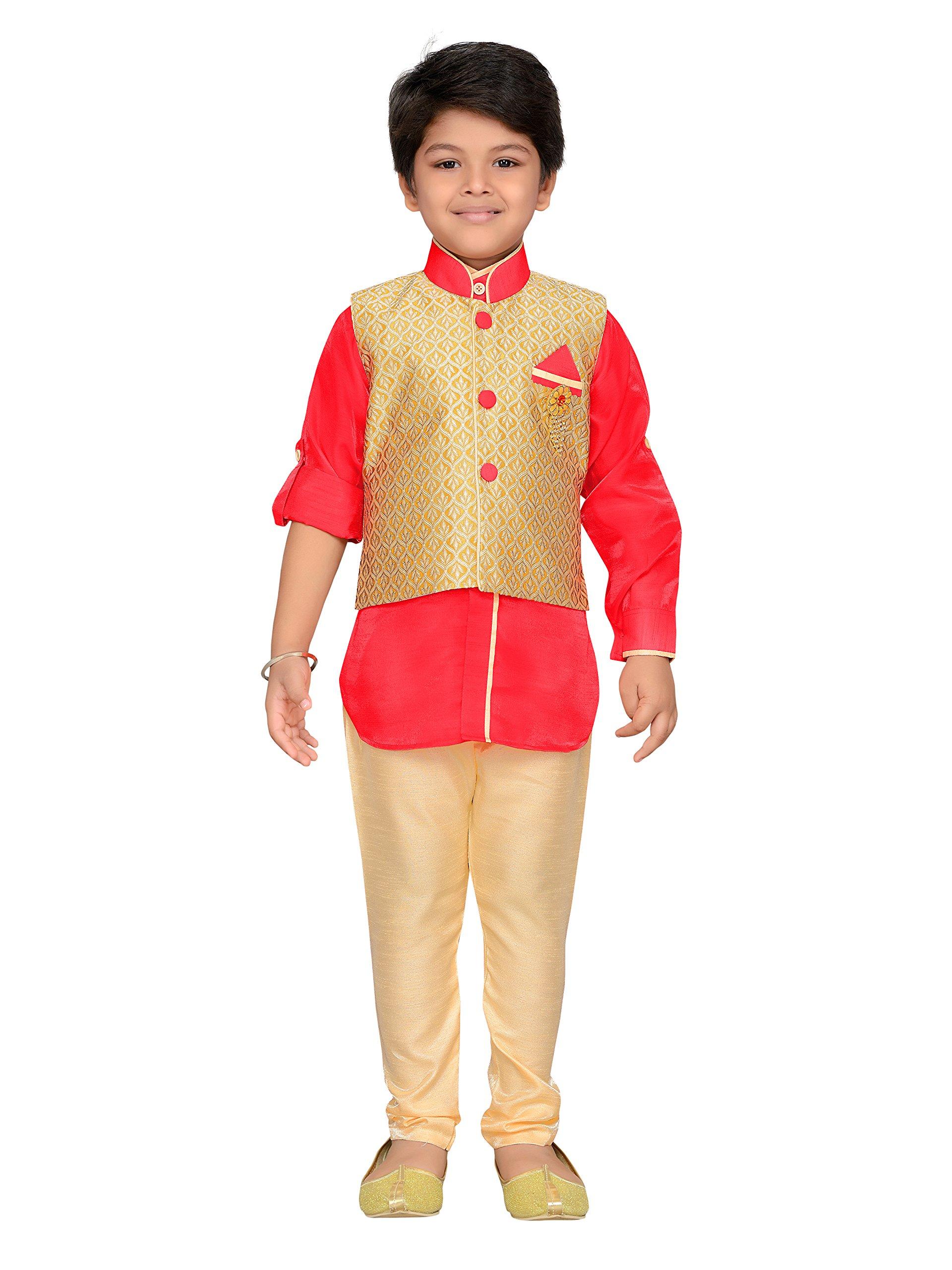AJ Dezines Kids Indian Wear Bollywood Style Kurta Pyjama Waistcoat for Baby Boys (632-GAJRI-1)