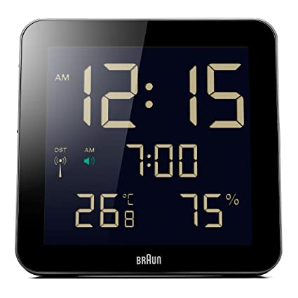 Braun BNC014BK-RC - Reloj despertador digital de pared con control por radio global,