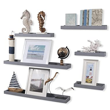 Wallniture Philly Set of 6 Varying Sizes Floating Shelves Trays Bookshelves and Display Bookcase – Wood Shelving for Kids Room and Nursery – Storage Bathroom Shelf, Gray