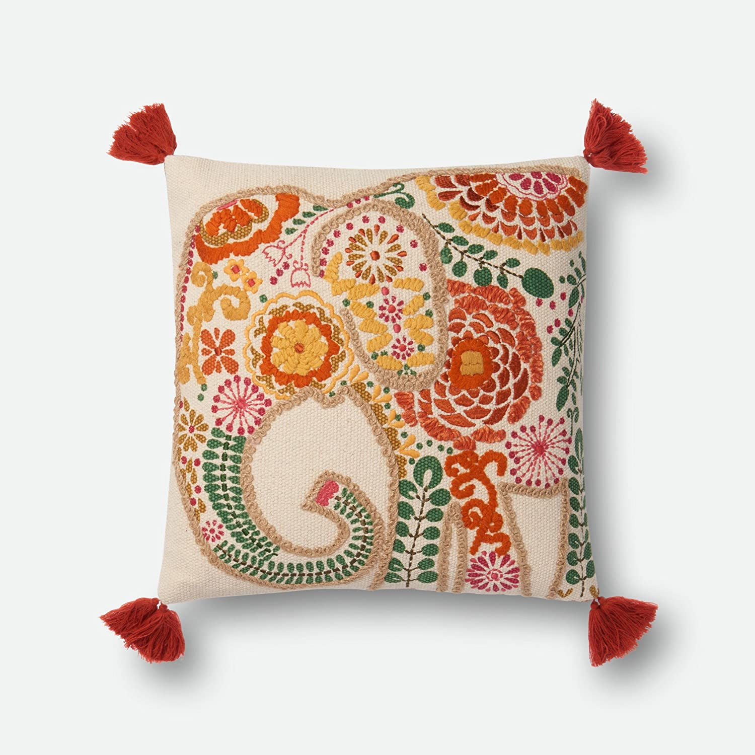 Loloi P0538 100/% Cotton Pillow Cover w//Polyester Fill