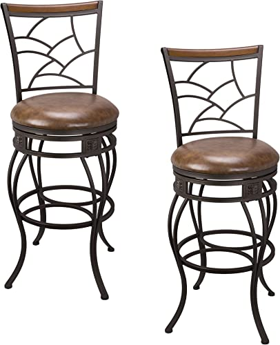 Kira Home Monarch II 30 Swivel Bar Stool, Brown Leatherette Seat Cushion, Mosaic Backrest with Real Wood Accent, Old Steel Finish, Set of 2