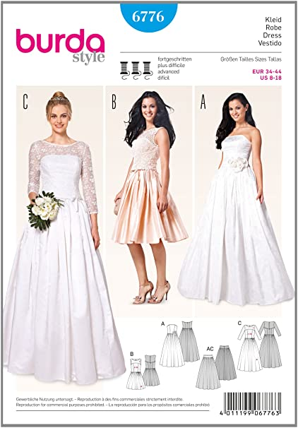 Amazon 6776 Burda Wedding Dress Sewing Pattern Sizes 8 18 Arts