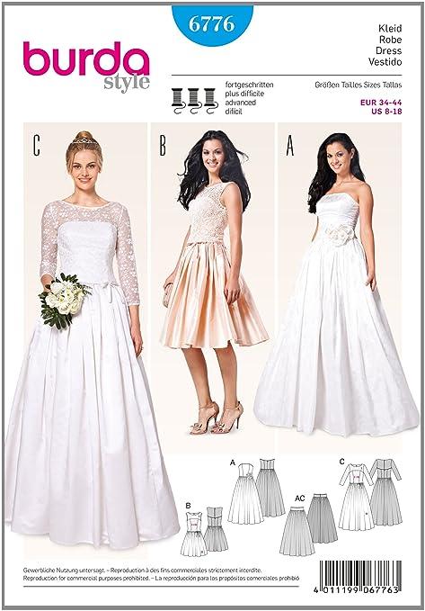 Patrón de Burda 6776 Vestido de novia y vestido de fiesta: Amazon.es ...