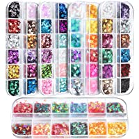 60 Boxes Nail Art Glitter Sequins, FANDAMEI 36 Boxes 3D Butterfly Glitter Sequins,12 Lip Shape Nail Sparkle Glitter,12…