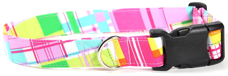 L Lily Pad Plaid, Pink Summer Shirt Pattern Designer Dog Collar, Adjustable Handmade Fabric Collars (L)
