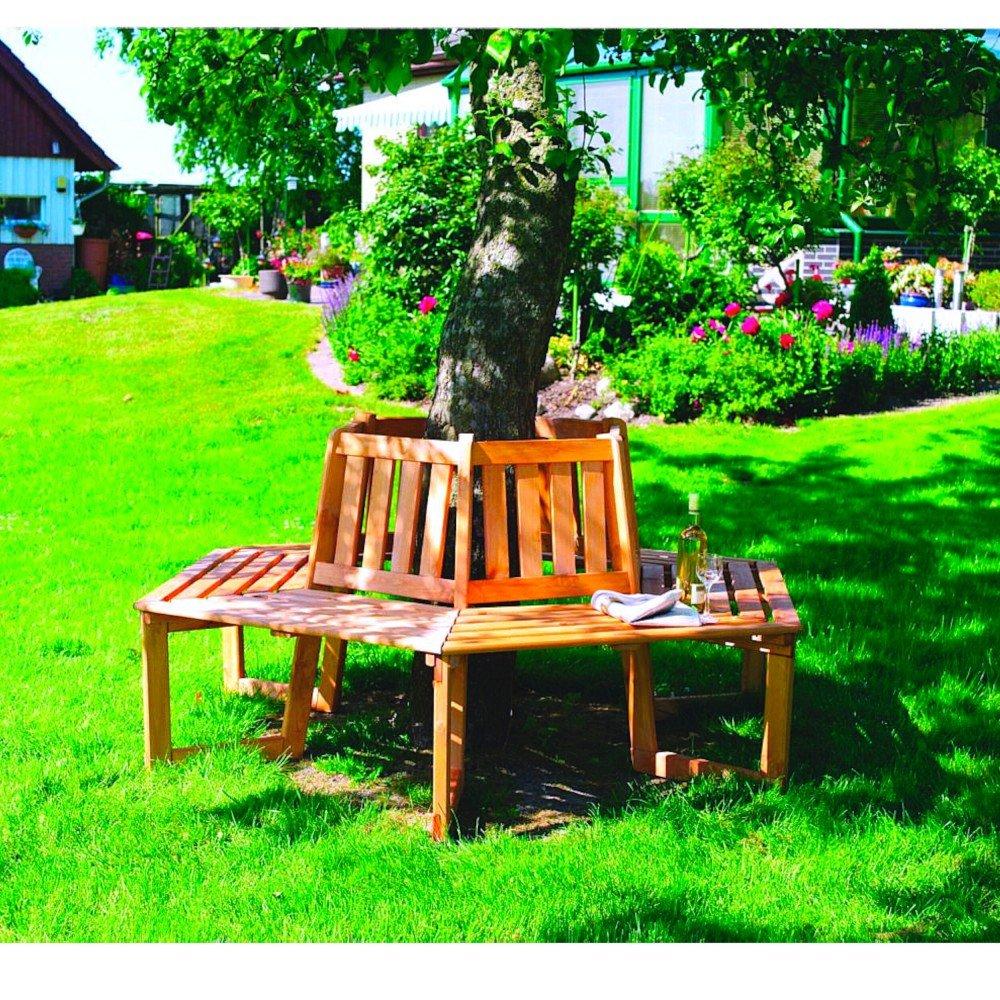 Baumbank 360° Sitztmöbel mit oder ohne Auflage Holz Gartenmöbel, Zubehör:Ohne Zubehör