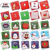 Howaf 144 Piezas Pequeñas Tarjetas de Navidad, Tarjetas de Felicitaciones de Navidad con Sobres,