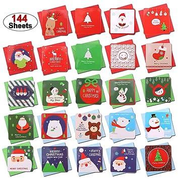 Howaf 144er Set Mini Weihnachtskarten mit Umschlägen, Frohe ...