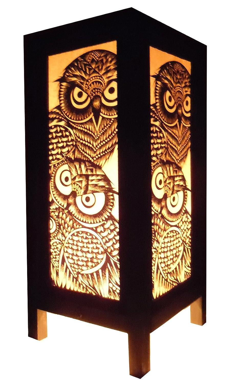 Thai Vintage Handmade Asian Oriental Handcraft Lanna Night Owl Bird Bedside Table Light Or Floor Wood Paper Lamp Shades Home Bedroom Decor Modern Design