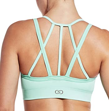 bba4e2ce2009c CALIA by Carrie Underwood Women s Inner Power Strappy Halter Seamless  Heather Sports Bra