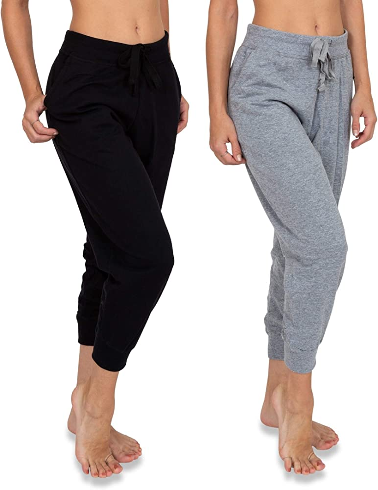 official images super cheap colours and striking Women's 2 Pack Soft French Terry Fleece Casual/Active Comfy Capri Jogger  Lounge & Sweatpants