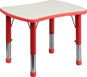 Flash Furniture 21.875''W x 26.625''L Rectangular Red Plastic Height Adjustable Activity Table with Grey Top