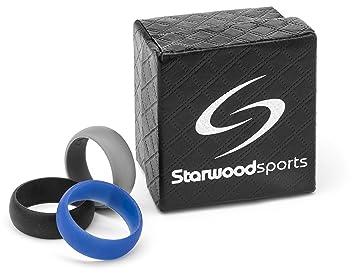 Starwood Sports ® Silicona Juego de anillos de boda de 3, color negro, azul