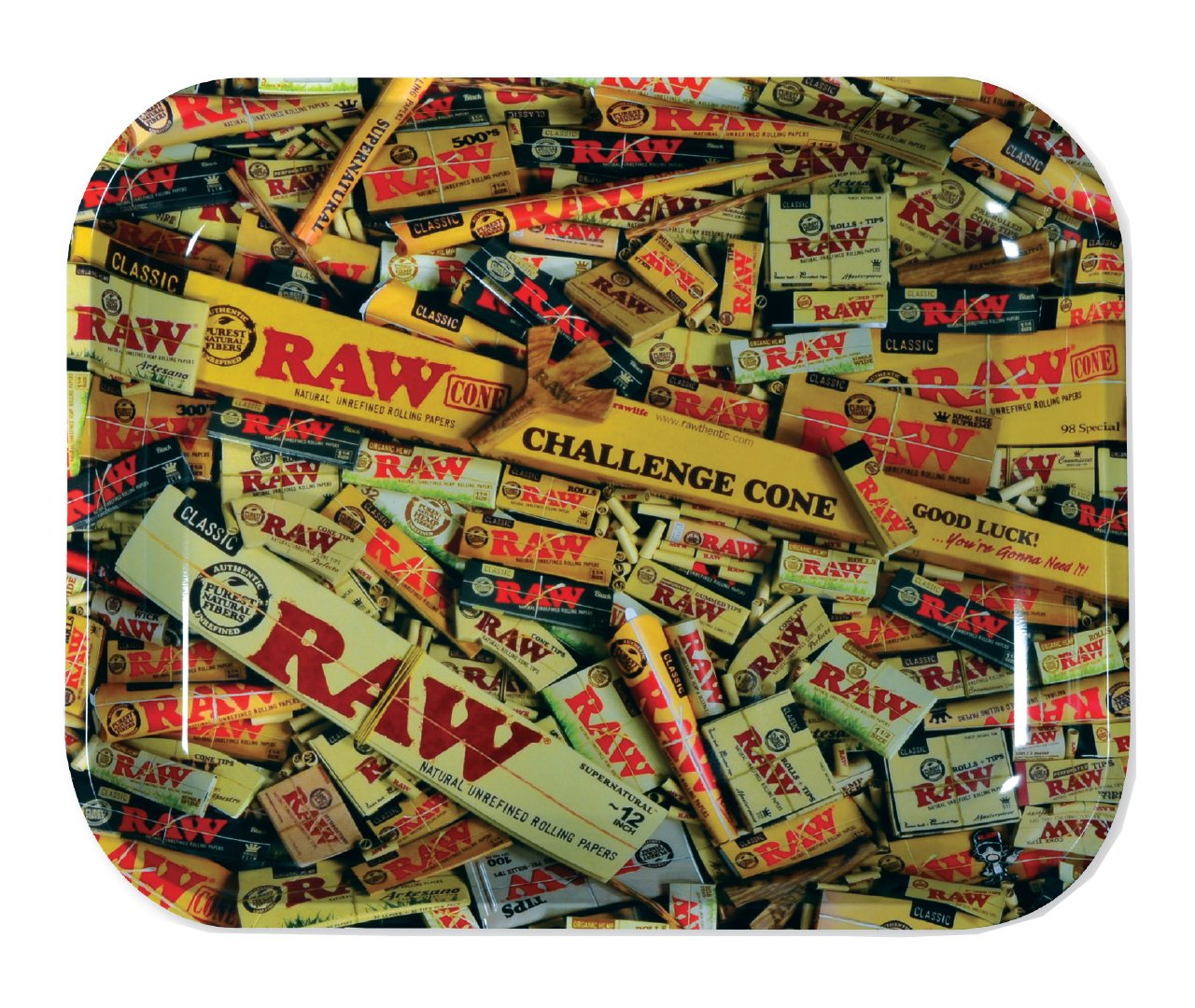 RAW Mixed Items Metal Rolling Tray (Large 13.5''x11'')