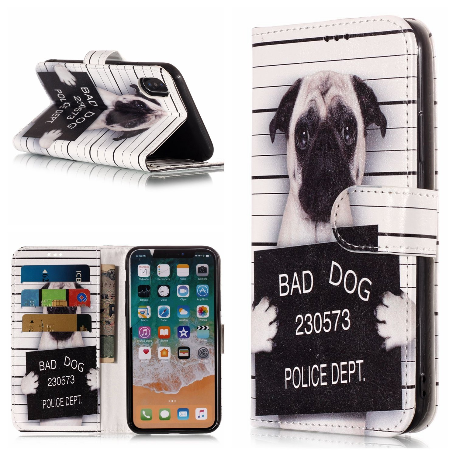 DAMONDY iPhone X Case, Shiny Marble Cute Pattern Wallet Purse Credit Card ID Holders Design Flip Leather Cover TPU Soft Bumper Kickstand Magnetic for iPhone X/10-bad dog