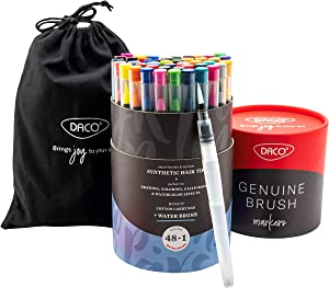 DACO Genuine Brush Pens, 48 Brush Markers + Water Brush Pen, Watercolor Paint Art Markers for Mess Free Coloring, Drawing, Calligraphy & Lettering, Washable Markers for Artists, Adults & Kids Art Set