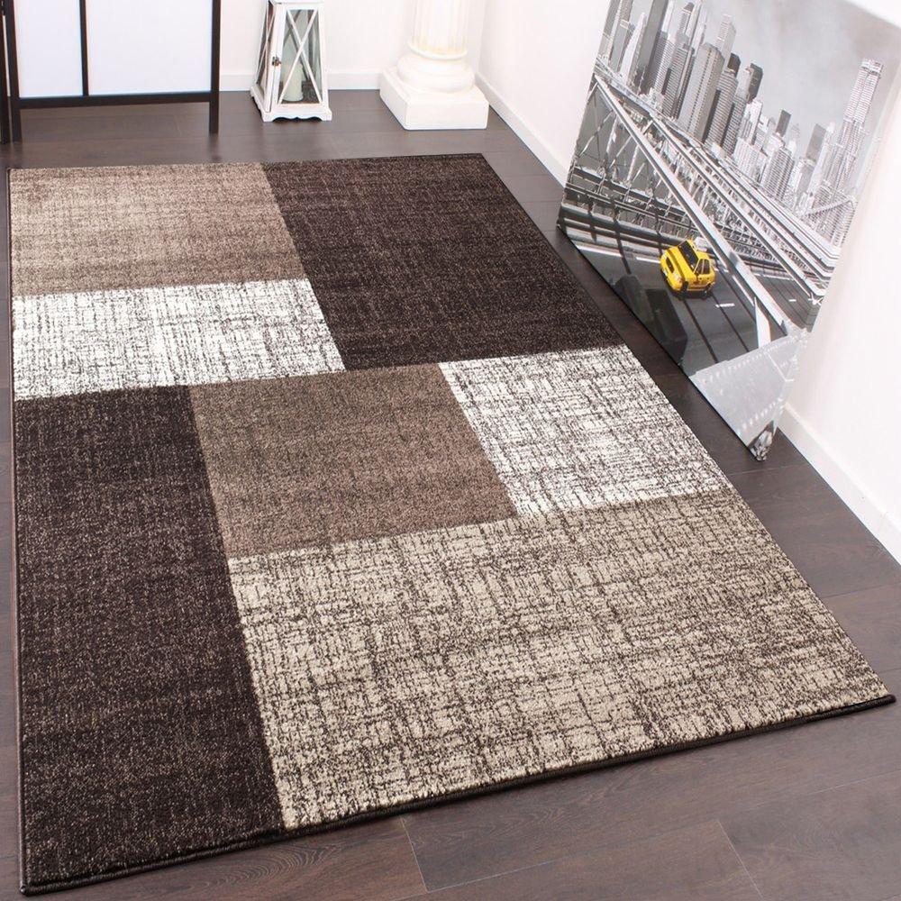 Paco Home Designer Teppich Kurzflor Karo Muster Braun Creme Meliert, Grösse 160x230 cm