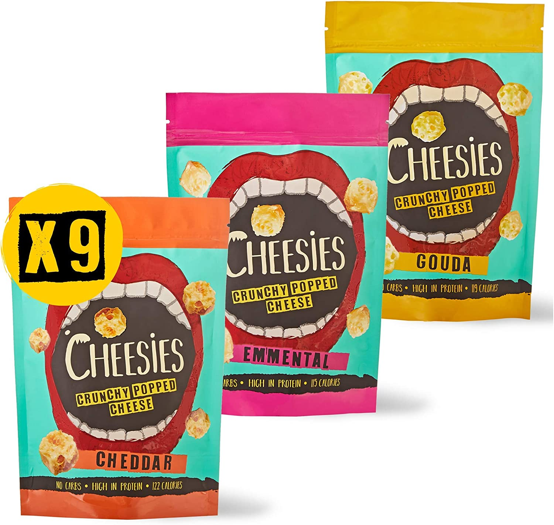 Snack de Queso Crujiente Cheesies, Escuche Mixto, 3 de Cheddar, 3 Emmental 3 3 Gouda. Sin carbohidratos, Alto en Proteínas, Sin Gluten, Vegetariano, ...