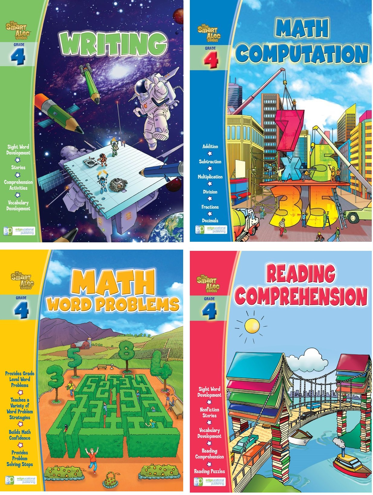 Smart Alec (4th Grade) Four Pack Learning Series, Includes: Writing, Math Readiness, Reading Readiness, Math Word Problems by Edgeucational Publishing Heroy (Image #1)