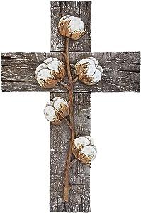 DeLeon Collections Cotton Stem & Bolls Wall Cross - Rustic Farmhouse Barn Wood Decorative Jesus Art