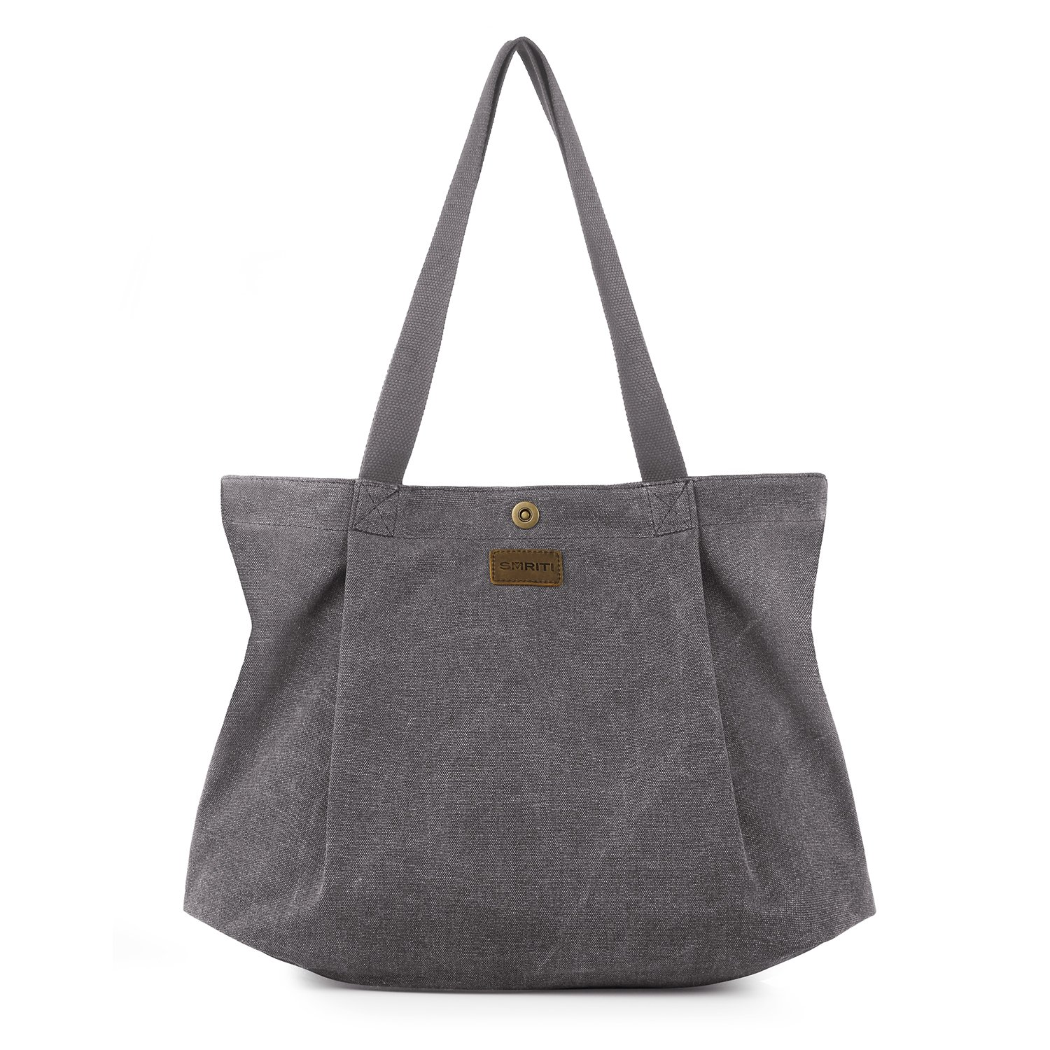 SMRITI Canvas Tote Bag for Women School Work Travel and Shopping (2 Light grey) by SMRITI