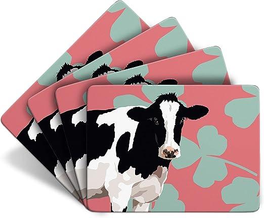 Juego de 4 manteles de mesa con forma de vaca de animales de Leslie Gerry: Amazon.es: Hogar