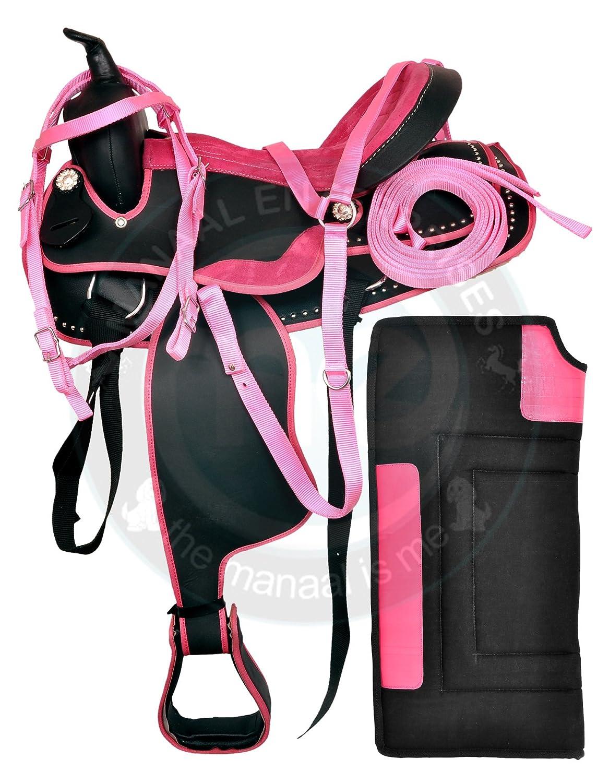Manaal Enterprises合成Western HorseサドルBarrel Racing Tack + Headstall、Breast襟&サドルパッドサイズ15
