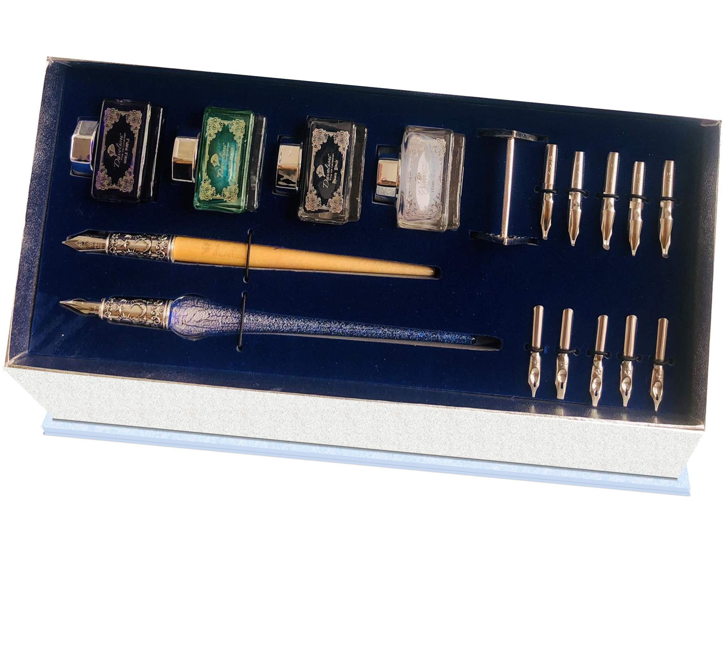 Daveliou Calligraphy Pen Set - 17-Piece Kit - Silver Leaf Blue Glass & Wooden Pens - 10 Nib & 4 Ink Set - Superior Control by Daveliou (Image #2)