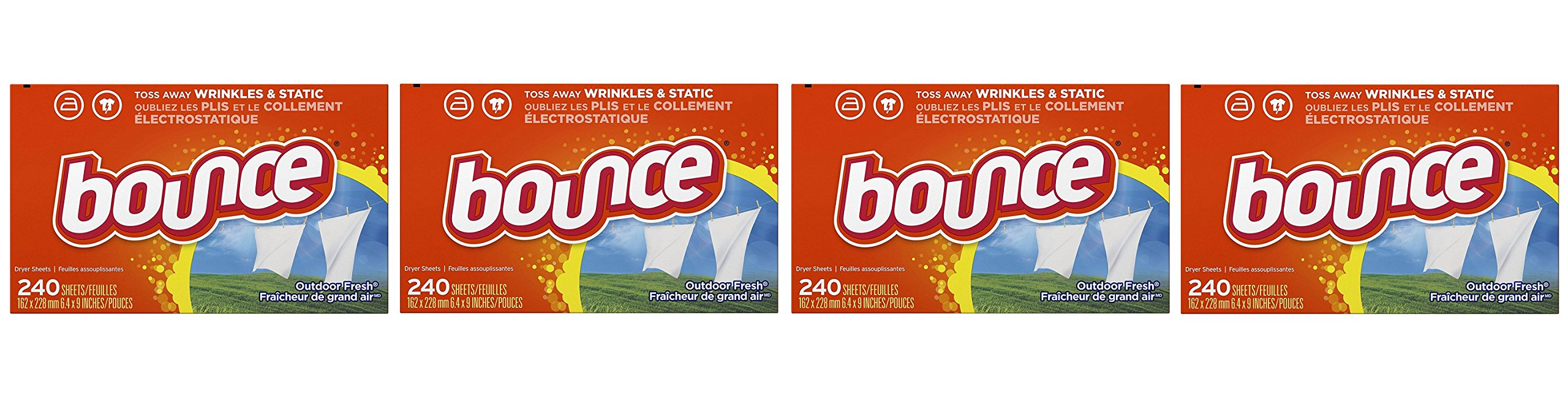 Bounce Outdoor Fresh GYDyUi Fabric Softener and Dryer Sheets (4 Units)