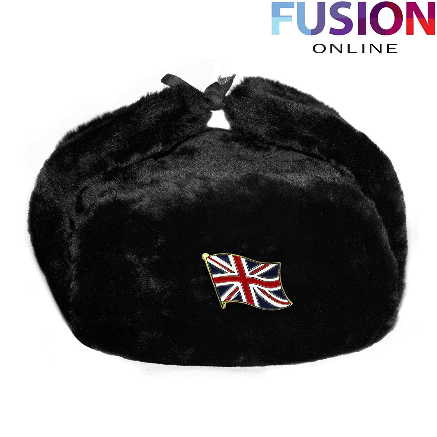 Evelyn Living Black Russian Trapper Hat With Britain Flag Badge Faux Fur Ushanka Cossack Flaps